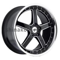 8*17 5*108 ET40 72 TSW Carthage Gloss Black Mirror Lip Milled Spokes