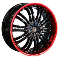 7,5*18 5*114,3 ET40 72,6 Harp Y-01 Gloss Black Red Lip